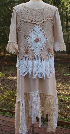 Lucky Penny Wear:  Lacy Crochet Pieced Vest over Linen Doily Trimed Dress. Back view........Sold on e-bay. Wish I would of kept......