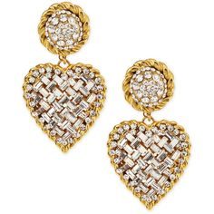Jose & Maria Barrera Crystal Heart Drop Clip-On Earrings