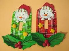 Resultado de imagen para como hacer adornos para la nevera en foami Xmas, Christmas Ornaments, Switch Plates, Ideas Para, Snowman, Holiday Decor, Creative, Home Decor, Ideas Vintage