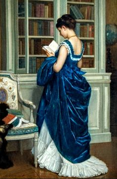 Carole's Chatter: In The Library by Auguste Toulmouche (1872) Dress Painting, Aged To Perfection, Cool Paintings, Art World, Blue Dresses, Art Gallery, Female, Reading, Lady