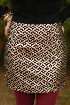 Black and gold printed skirt, perfect for the holidays