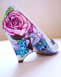 Wedding Shoes Bridal Heels Orchid & Peacock by LoveMirandaMarie, $195.00