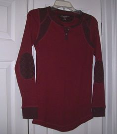 Eddie Bauer Women's Knit Top S Long Sleeve Burgundy/Red Patched Elbows #EddieBauer #PoloShirt #Casual