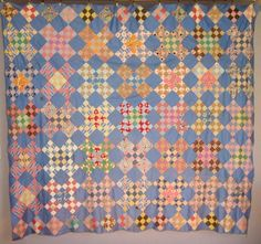 "Antique Nine Patch Quilt Top for Sale, $60, http://lesleyscollectibles.com/InfoPages/T036.html, 75"" X 85"", c.1940"