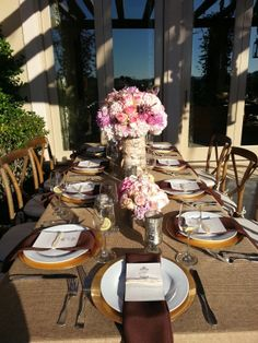 Rustic table top with touch of pink just love it