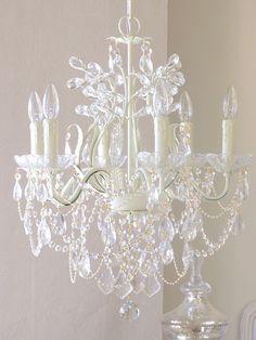 Exquisite Rose 6 Light Leafy Ivory Crystal Chandelier