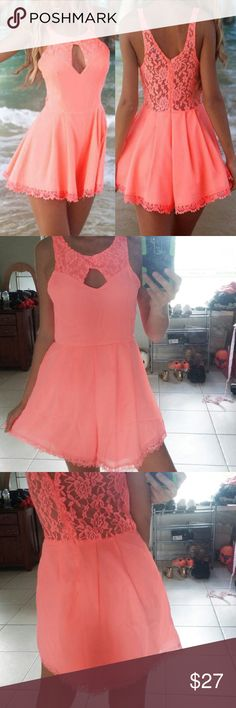 NWOT Gorgeous Neon Romper. Brand new without tags. Label says M but it fits S as well. Tags for exposure : Beach Bunny, victoria's secret, triangl, beach riot,frankie's bikini, mikon, kiini, posh pua, acacia, vuitton, fox, topshop, nasty gal, asos, missgiuded,bcbg. Dresses Mini