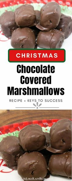 Chocolate Covered Marshmallows are a super easy holiday treat that takes only a few minutes to put together. You can dress them up with holiday-colored sprinkles or leave them plain. These are a kid-favorite! | Christmas Candy Recipes | Chocolate Covered Marshmallows Christmas | Homemade Chocolate Covered Marshmallows Recipe | Easy Christmas Treats | #Marshmallows #Chocolate #Christmas #Recipes