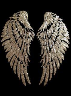 Diy wings heat transfer iron on. Gold wings. Victoria secret pink