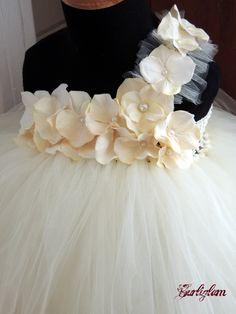 Ivory pearl tutu dress, flower girl dress, tutu dress