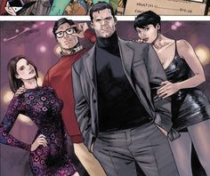 Bruce Wayne and Selina Kyle with Clark Kent and Lois Lane