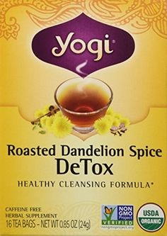 Yogi Organic Roasted Dandelion Spice Detox Tea 16 Count ** You can get additional details at the image link. Body Detox Cleanse, Liver Detox, Detox Tea, Dandelion Uses, Dandelion Recipes, Water Recipes, Detox Recipes, Detox Diet For Weight Loss, Homemade Detox