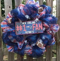 New England Patriots Inspired deco mesh wreath, football wreath, patriots wreath on Etsy, $65.00