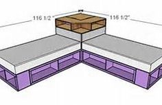 Ana White Build a Corner Hutch Plans for the Twin Storage Beds Free and Easy DIY Project and Furniture Plans Corner Twin Beds, Bed In Corner, Corner Hutch, Two Twin Beds, Corner Space, Corner Unit, Twin Bed Couch, Double Twin Beds, Diy Twin Bed Frame