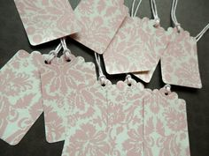 10 HANDMADE TAGS  Blush Pink White Damask Pattern by PaperPastiche, $4.50