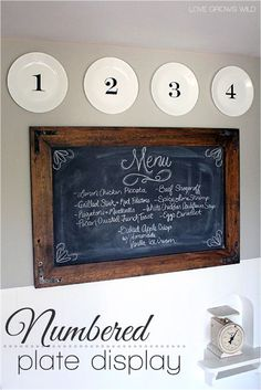 Create a simple numbered plate display and hang them with this inexpensive DIY trick! http://LoveGrowsWild.com #diy #plate