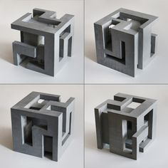 Brutalist concrete sculpture set