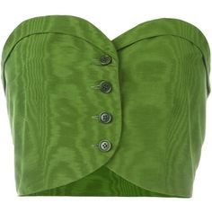 Romeo Gigli Vintage buttoned bustier top ($140) ❤ liked on Polyvore featuring tops, shirts, crop top, crop, green, bustier crop tops, strapless bustier top, sweetheart crop top, button front top and strapless crop top