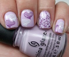 Cheeky IP CH02, CH15, Special polishes white and purple. I added a little bit of China Glaze Fairy Dust over the hearts.