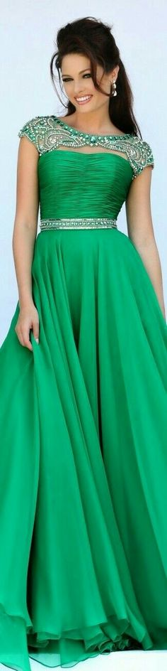 Kelly Green Evening Gown