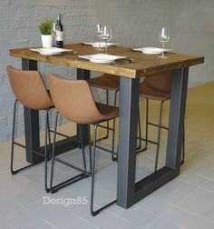 """Visit our web site for even more details on """"bar tables kitchen"""". It is an outstanding spot to learn more. High Top Table Kitchen, High Dining Table, High Top Tables, Wood Table Design, Dining Room Design, Small Open Kitchens, Asian Interior, Wood Bar Stools, Cafe Tables"""