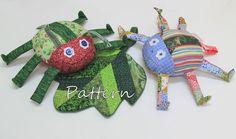 PATTERN PDF Scrap Bag Bug & Leaf Stuffed Toy by BecomingBearsETC, $9.00
