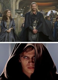 Anakin is jealous of Thor and Padme...er, Jane.