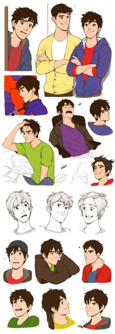Oh yeah here, some Older!Hiro Hamada sketches. I am so close to drawing him bald his hair is just - I am so done. -walks away-
