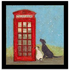 phone box with dogs
