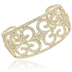 Icz Stonez 18k Gold over Sterling Silver CZ Swirl Cuff Bangle ($179) ❤ liked on Polyvore