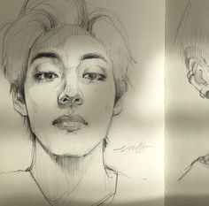 Kpop Drawings, Art Drawings Sketches, Bts Eyes, Drawing Tutorials For Beginners, Digital Portrait, Wow Art, Kpop Fanart, Aesthetic Art, Art Sketchbook