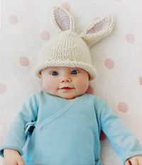 (Bunny beanie by Noe Knit.) Idea of laying baby down in favorite hat maybe on a fun background (blanket, sheet, etc).