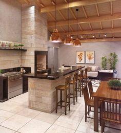 Home Design Decor, Home Interior Design, House Design, Home Decor, Kitchen Layout Plans, Open Kitchen, Kitchen Flooring, Bar Grill, New Room