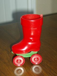 Vintage Rosbro hard plastic boot pull toy candy container ornament