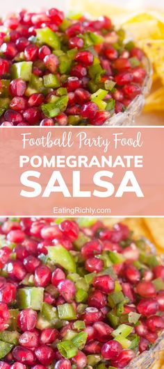 Looking for a the perfect Super Bowl Party food snack recipe? This fresh pomegranate salsa is bursting with flavor and makes a beautiful appetizer for game day. #pomegranates #pomegranaterecipes #appetizers #appetizerrecipes #salsas #salsarecipes #homemadesalsa #mexicanfood #texmex #seahawks #footballfood #footballparty #tailgating #superbowlfood #superbowlsnacks #gameday #gamedayfood #gamedaysnacks #footballpartyfood #pomegranate #dip #dips #diprecipes #snacks #snackrecipes #salsa