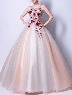 Ball Gown Scoop Sleeveless Open Back Long Tulle Prom Dress with Red Flowers,Floor-length Party Dresses, Shop plus-sized prom dresses for curvy figures and plus-size party dresses. Ball gowns for prom in plus sizes and short plus-sized prom dresses for Pageant Dresses For Teens, 2 Piece Homecoming Dresses, Elegant Bridesmaid Dresses, Tulle Prom Dress, Beautiful Prom Dresses, Elegant Dresses, Cheap Gowns, Cheap Evening Dresses, Ball Gowns Evening