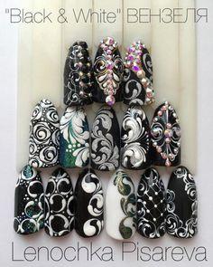 Маникюр. Дизайн ногтей. Art Simple Nail Black And White Nail Designs, Nail Mania, Art Simple, Beautiful Nail Designs, Gel Nail Art, Black Nails, Nail Art Designs, Nails Design, Swirls