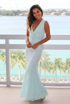 83e16d35befa Mint Lace Maxi Dress with Open Back and Frayed Hem