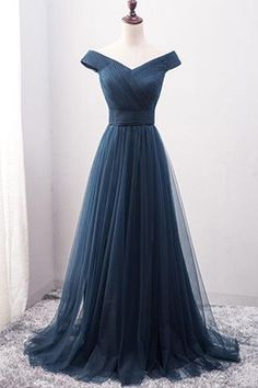 A-line Prom Dress, Long Prom Dress,Tulle Prom Dress, Princess Prom Dress on Luulla Prom Dress Black, Navy Blue Prom Dresses, Princess Prom Dresses, Pretty Prom Dresses, Blue Evening Dresses, V Neck Prom Dresses, Tulle Prom Dress, Homecoming Dresses, Dress Long