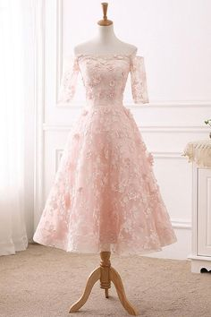 Elegant Pink Lace Prom Dress, Half Sleeve Prom Gown, Elegant A Line Prom Dresses, Homecoming Dress Lace Homecoming Dresses, Lace Evening Dresses, Cheap Prom Dresses, Formal Dresses, Dress Lace, Lace Dress With Sleeves, Dress Prom, Half Sleeves, Party Dresses With Sleeves