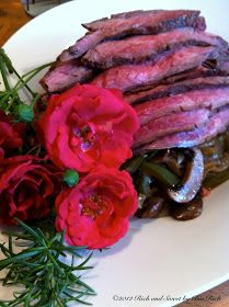 Rich and Sweet by Bia Rich: Marinated Grilled Flank Steak over Caramelized Onions, Peppers and Mushrooms