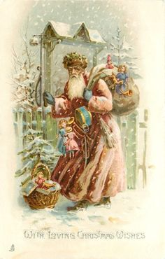 purple robed Santa, burdened with toys, at gate in snow (first used Purple Christmas, Christmas Wishes, Christmas Art, Father Christmas, Christmas Decorations, Xmas, Vintage Christmas Images, Victorian Christmas, Christmas Pictures