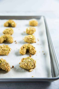 Italian Pistachio Cookies - baked until just slightly browned at the bottom. You can make round cookies or crescent cookies too. Italian Pistachio Cookies Recipe, Italian Cookies, Crescent Cookies, Italian Bakery, Healthy Treats, Healthy Eating, Sliced Almonds, How To Make Cookies, Tray Bakes