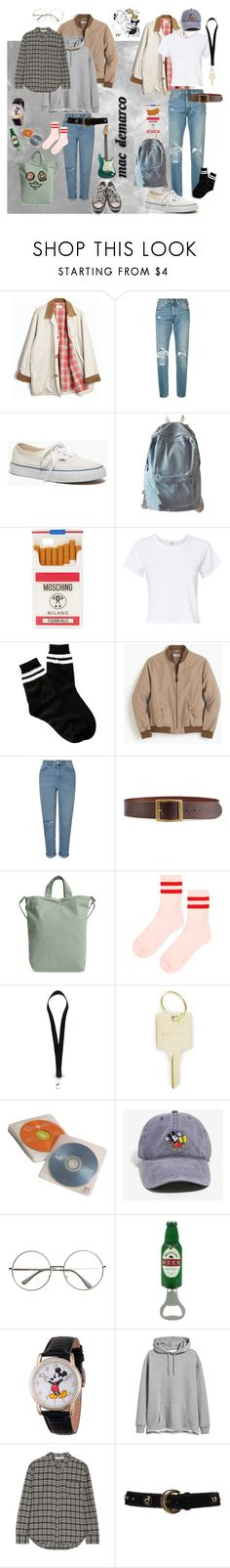 """Mac Demarco"" by sydneybrunette on Polyvore featuring J.Crew, Levi's, Madewell, WithChic, Moschino, RE/DONE, Free Press, Miss Selfridge, Converse and Frame"