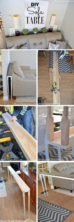 Check out the tutorial: Sofa Table DIY Home Decor Ideas @ ISD – Farmhouse interior livingroom