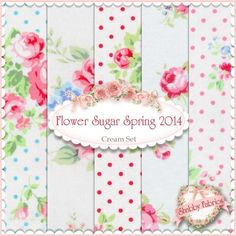 """Flower Sugar Spring 2014  5 FQ Set - Cream by Lecien Fabrics: Flower Sugar Spring 2014 is a collection by Lecien Fabrics.  100% cotton. This set contains 5 fat quarters, each measuring approximately 18"""" x 21""""."""