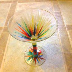 Hand painted martini glass!
