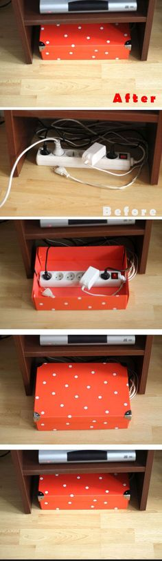 Hide Cables in Gift Box   25 Life Hacks Every Girl Should Know   Easy Organization Ideas for the Home