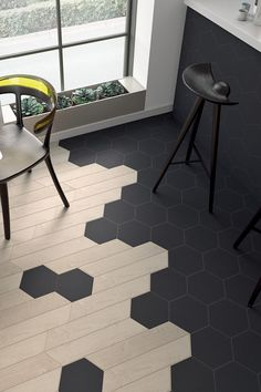 Which flooring transition design in your favourite? Make Projects with Step by Step Plan…even if you don't have a large workshop or. Tile To Wood Transition, Transition Flooring, Hexagon Tiles, Floor Design, Kitchen Flooring, Home Projects, Sweet Home, New Homes, Decoration