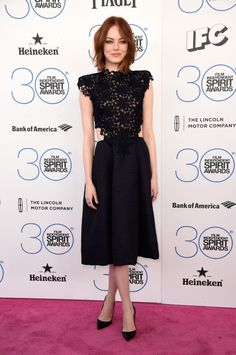 Emma Stone in Monique Lhuillier Fall 2015 RTW at the 2015 Film Independent Spirit Awards